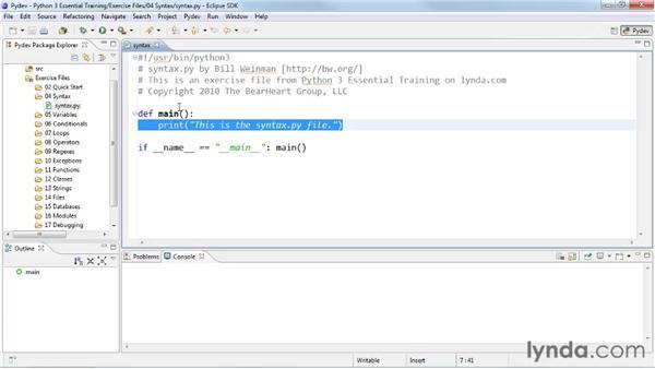 Creating a main script: Python 3 Essential Training