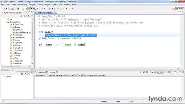 Understanding whitespace in Python: Python 3 Essential Training
