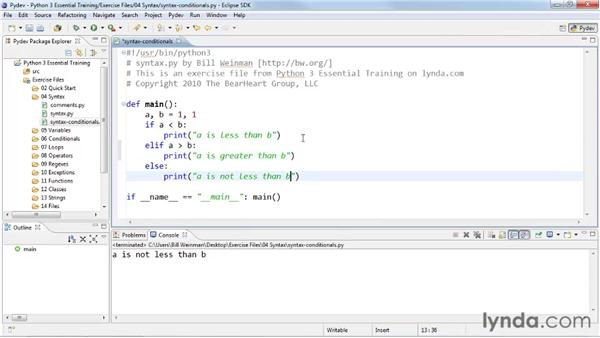 Selecting code and values with conditionals: Python 3 Essential Training