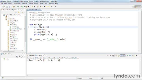 Aggregating values with lists and tuples: Python 3 Essential Training