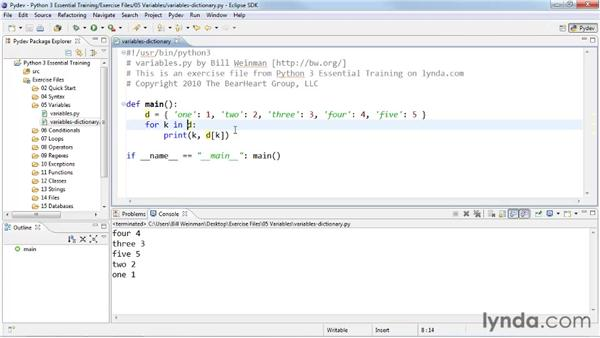 Creating associative lists with dictionaries: Python 3 Essential Training