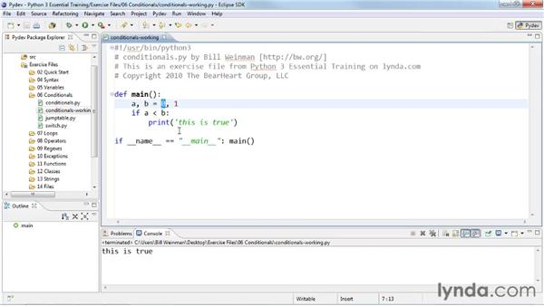 Selecting code with if and else conditional statements : Python 3 Essential Training