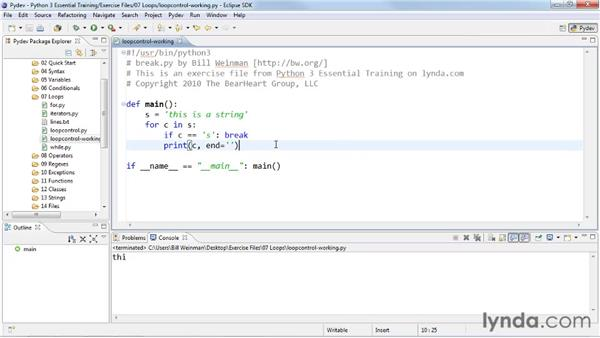 Controlling loop flow with break, continue, and else: Python 3 Essential Training