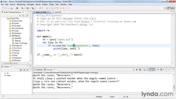 Searching with regular expressions: Python 3 Essential Training