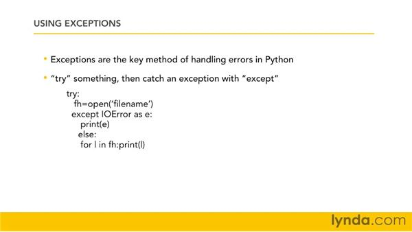 Learning how exceptions work: Python 3 Essential Training