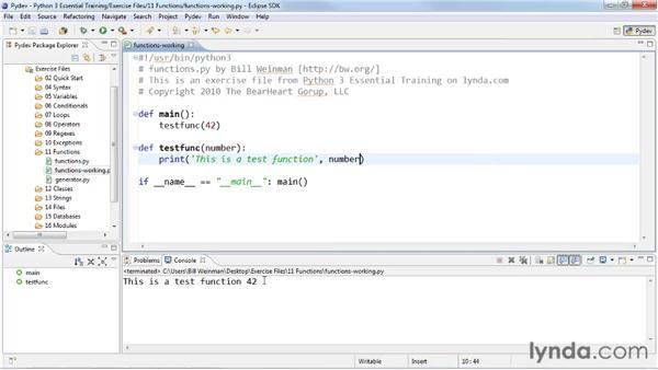 Defining functions: Python 3 Essential Training
