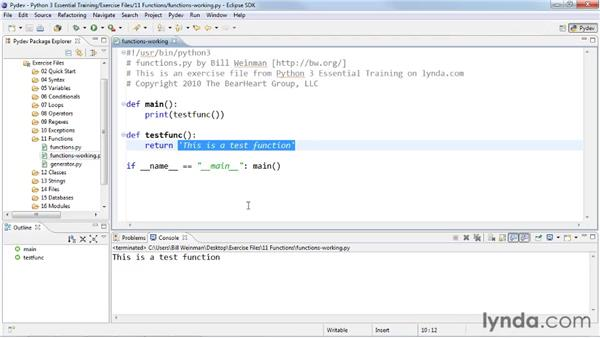 Returning values from functions: Python 3 Essential Training