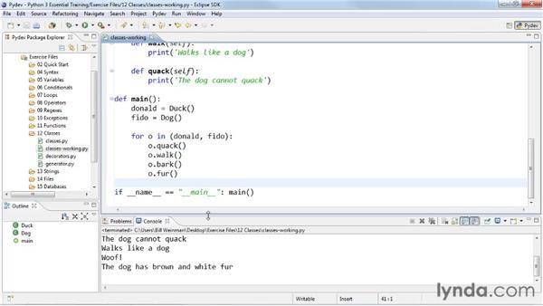 Applying polymorphism to classes: Python 3 Essential Training