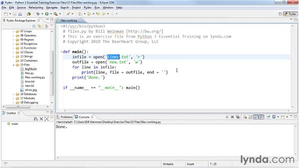 Reading and writing text files: Python 3 Essential Training