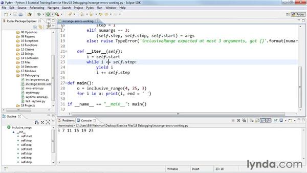 Dealing with logical errors: Python 3 Essential Training