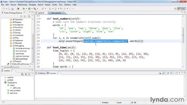 Using unit tests: Python 3 Essential Training