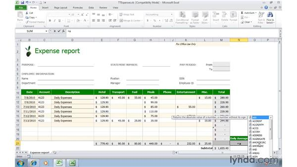Working with formulas and functions: Migrating from Excel 2003 to Excel 2010