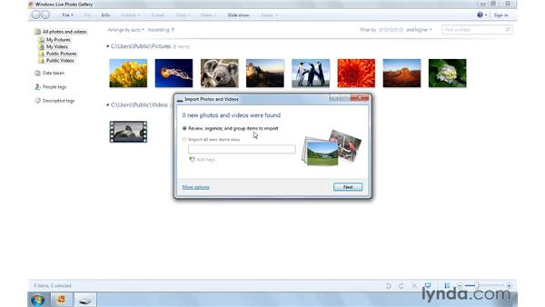Importing images from a digital camera: Computer Literacy for Windows 7