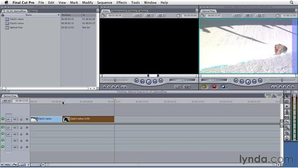 Using optical flow technology for speed changes: Final Cut Studio: Round-Tripping