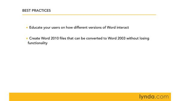 Best practices for managing files in a mixed environment: Migrating from Word 2003 to Word 2010