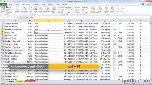 Expanding and collapsing the Ribbon and Full Screen view: Excel 2010 Power Shortcuts