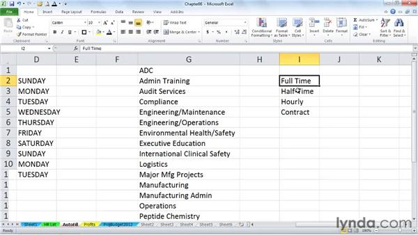 Custom lists for rapid entry: Excel 2010 Power Shortcuts