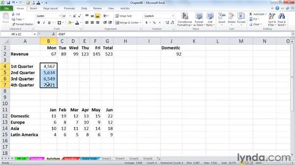 AutoSum shortcuts: Excel 2010 Power Shortcuts