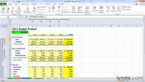 Collapsing and expanding detail: Excel 2010 Power Shortcuts