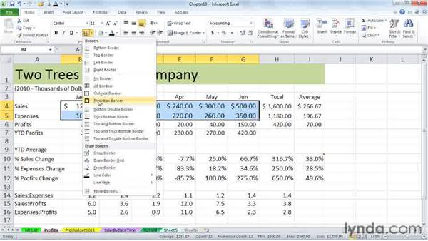 Applying strikethroughs and borders: Excel 2010 Power Shortcuts