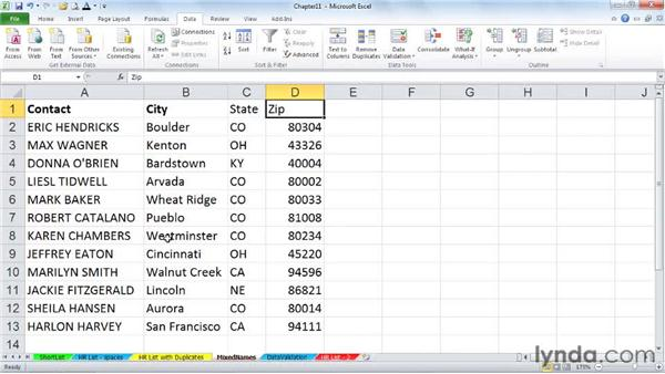 Splitting columns: Excel 2010 Power Shortcuts