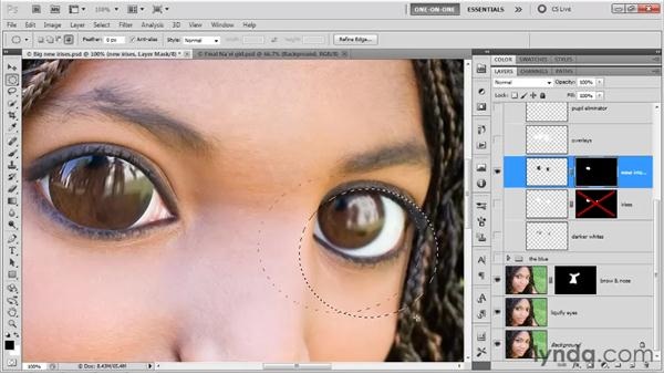 Masking eyes: Photoshop CS5 One-on-One: Advanced