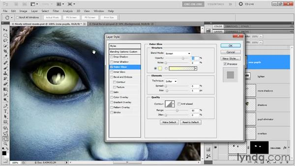 Fabricating the highlights in the pupils: Photoshop CS5 One-on-One: Advanced