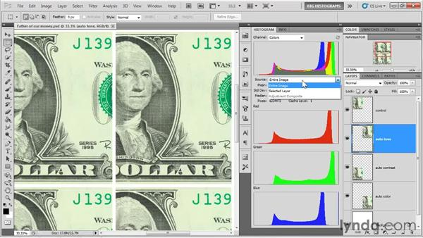 Reading a channel-by-channel histogram: Photoshop CS5 One-on-One: Advanced