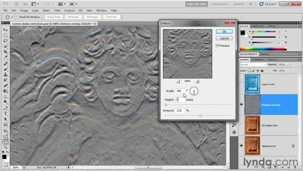 Sharpening with the Emboss filter: Photoshop CS5 One-on-One: Advanced