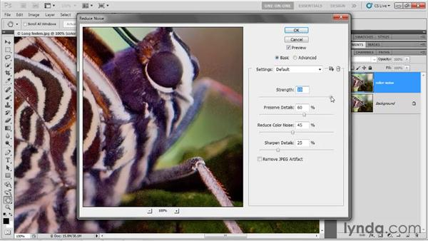 Reducing color noise: Photoshop CS5 One-on-One: Advanced