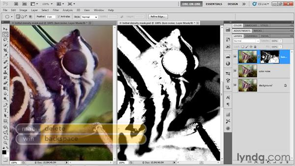 Switching between layer and mask: Photoshop CS5 One-on-One: Advanced