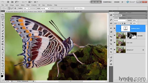 Adjusting shadow saturation: Photoshop CS5 One-on-One: Advanced