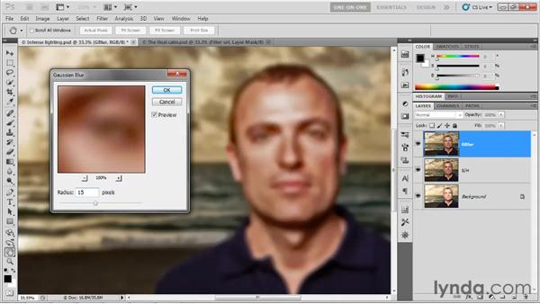 """Creating a """"bounce"""" with Gaussian Blur: Photoshop CS5 One-on-One: Advanced"""