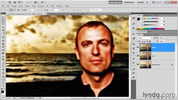 Sharpening on top of blur: Photoshop CS5 One-on-One: Advanced