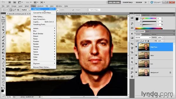 Sharpening the merged composition: Photoshop CS5 One-on-One: Advanced