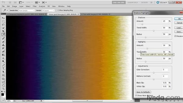 Changing the Shadows/Highlights defaults: Photoshop CS5 One-on-One: Advanced
