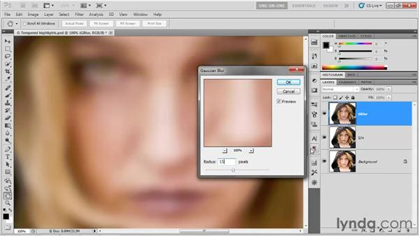 Smoothing skin details with Gaussian Blur: Photoshop CS5 One-on-One: Advanced