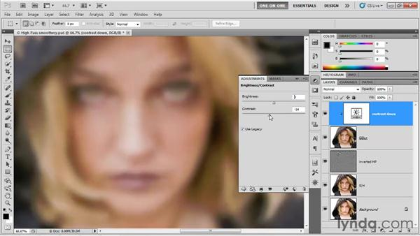 Lowering contrast with Gaussian Blur: Photoshop CS5 One-on-One: Advanced