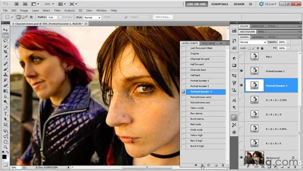 Saving variations as layer comps: Photoshop CS5 One-on-One: Advanced
