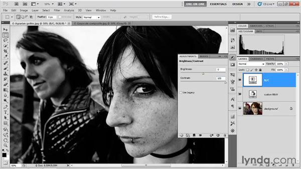 Creating a custom black-and-white mix: Photoshop CS5 One-on-One: Advanced