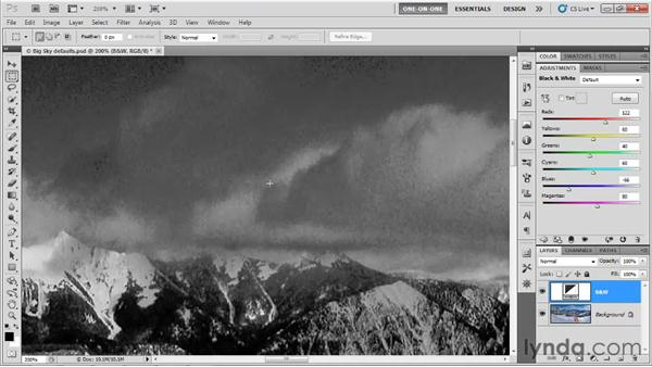 Adjusting Black & White settings: Photoshop CS5 One-on-One: Advanced