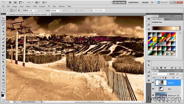 Loading custom gradients: Photoshop CS5 One-on-One: Advanced