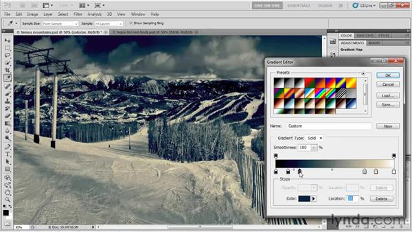 Editing gradient color stops: Photoshop CS5 One-on-One: Advanced