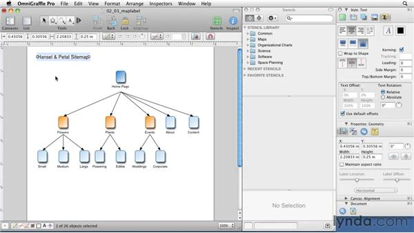 Working with text: OmniGraffle 5: Creating Web Sitemaps and Wireframes