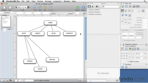 Aligning and distributing : OmniGraffle 5: Creating Web Sitemaps and Wireframes