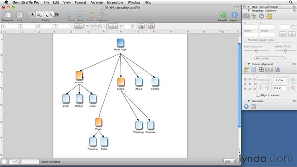 Aligning and grouping for sitemaps: OmniGraffle 5: Creating Web Sitemaps and Wireframes
