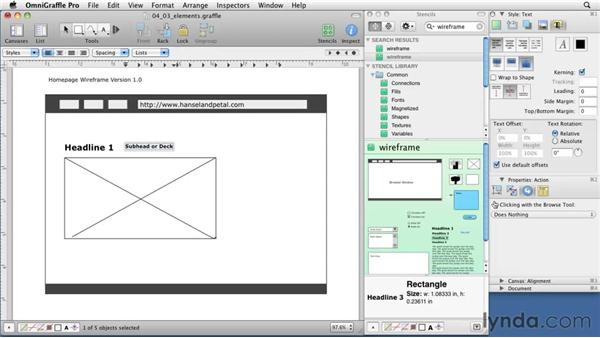 Choosing wireframe content styles: OmniGraffle 5: Creating Web Sitemaps and Wireframes