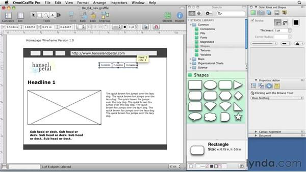 Wireframing a navigation bar: OmniGraffle 5: Creating Web Sitemaps and Wireframes