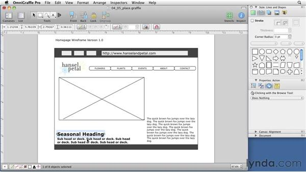 Positioning content elements: OmniGraffle 5: Creating Web Sitemaps and Wireframes