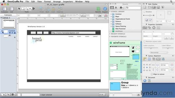 Using layers to organize your wireframe: OmniGraffle 5: Creating Web Sitemaps and Wireframes